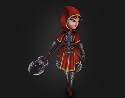 rigged game-ready medieval chibi warrior 3d model
