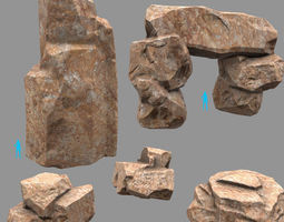 3d model rock set 20 low-poly