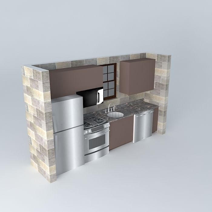Small one wall kitchen free 3d model max obj 3ds fbx stl for Kitchen ideas one wall