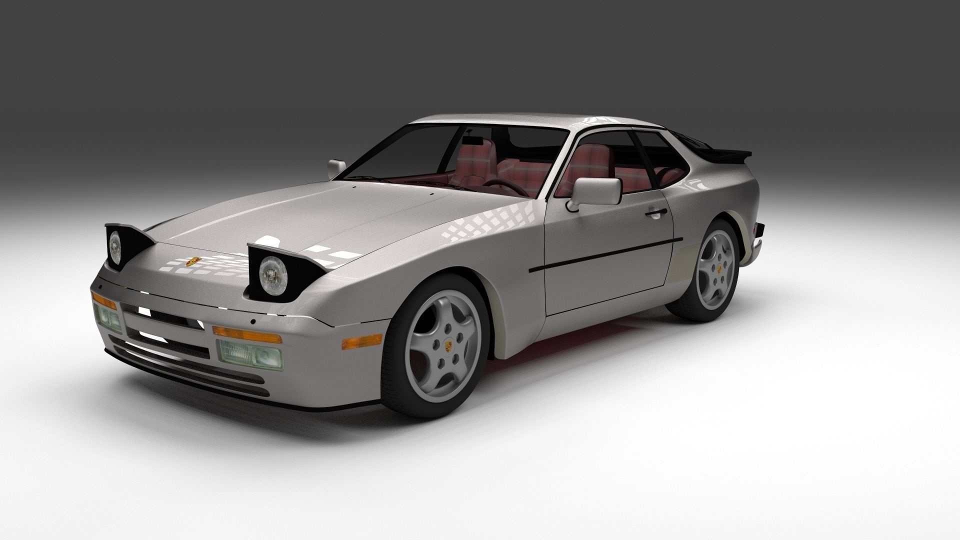 porsche 944 turbo s with interior 3d cgtrader