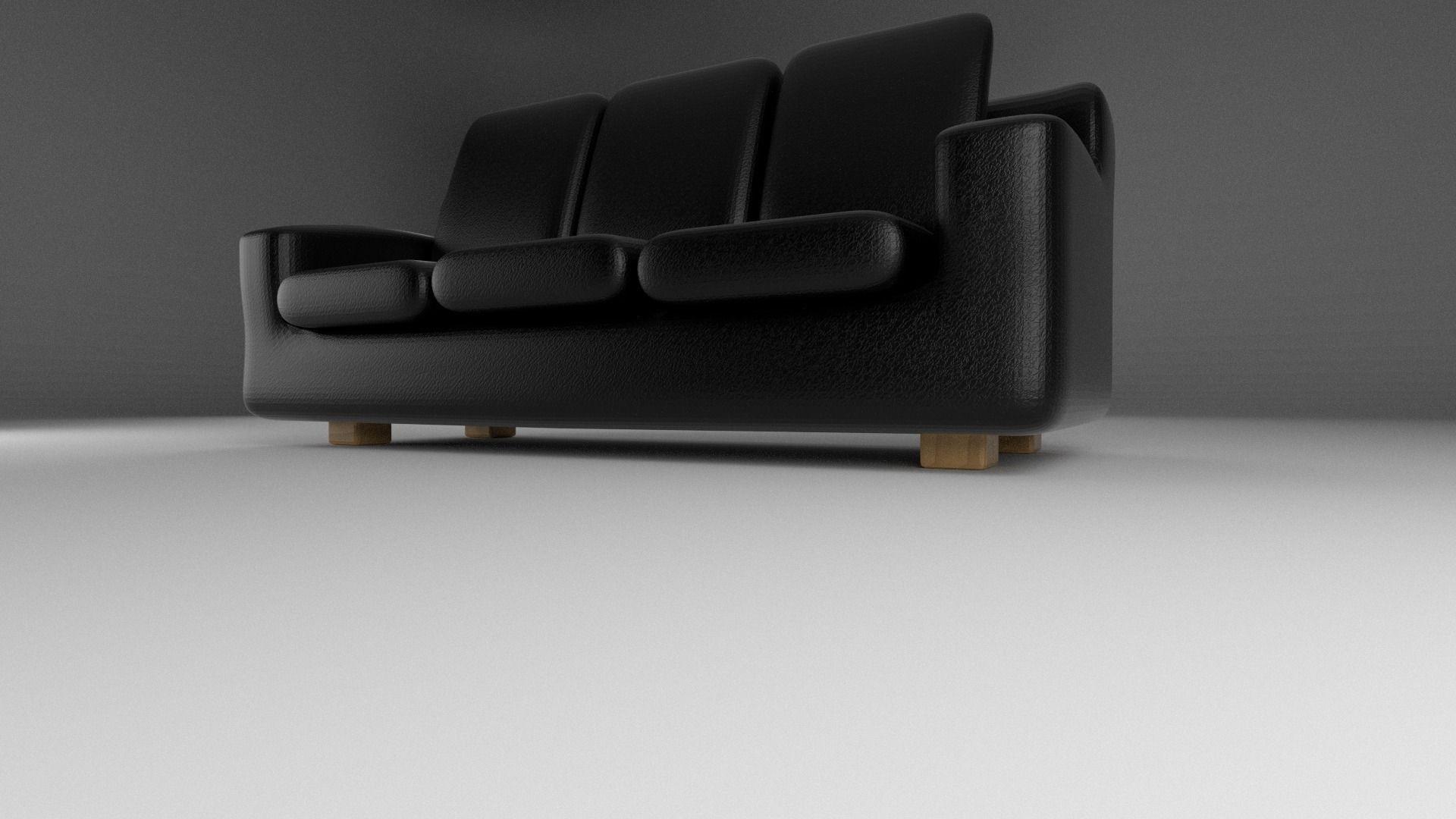 Black Leather Sofa 3D model OBJ FBX STL BLEND DAE X3D