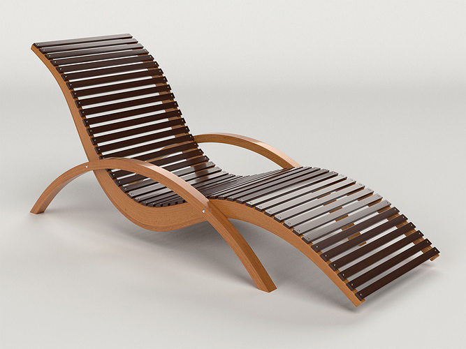 High Quality Lounge Chair Outdoor Wood Patio Deck 3d Model Obj Mtl Dxf 1 ...