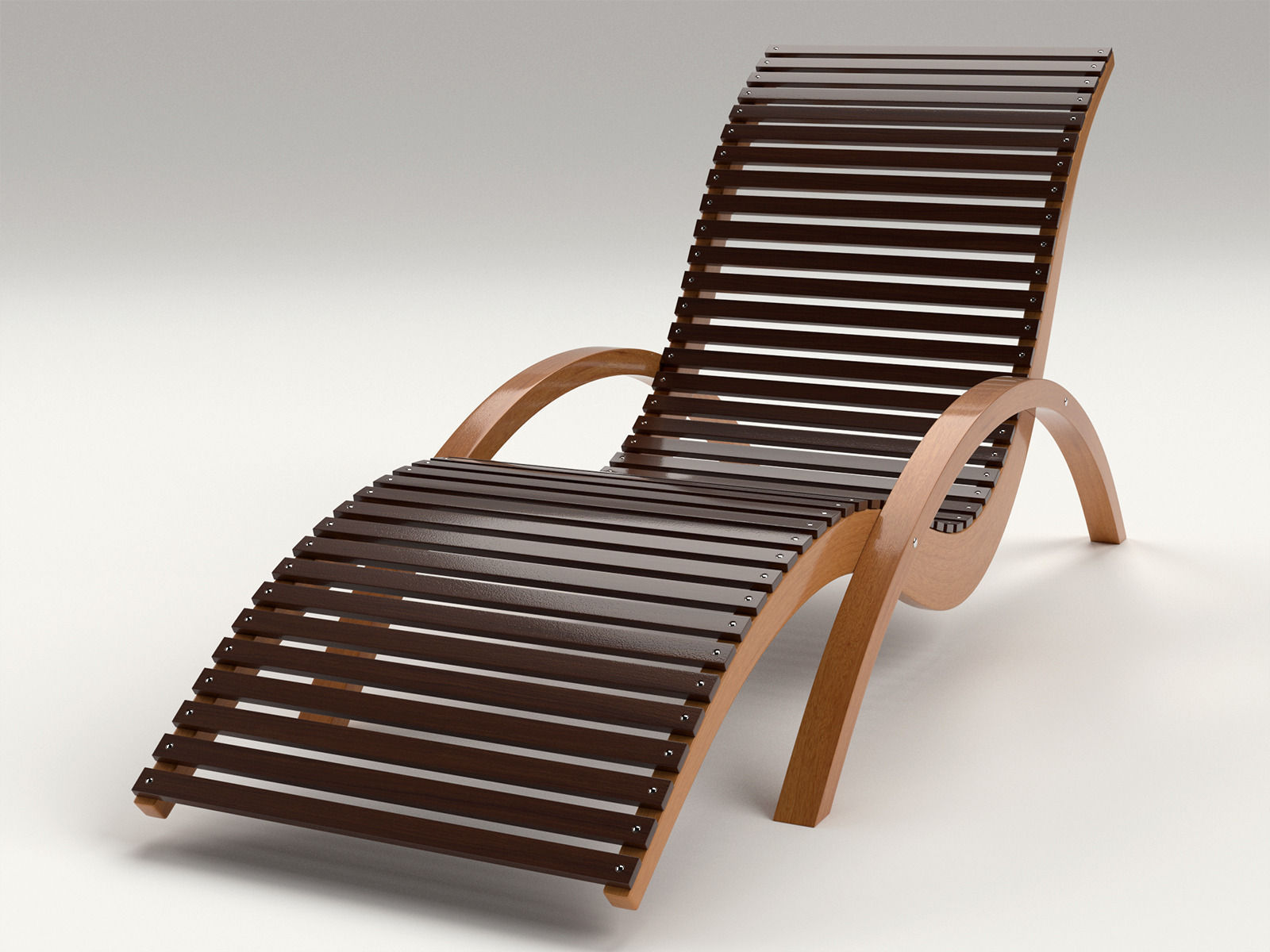 Lounge Chair Outdoor Wood Patio Deck 3D Model OBJ MTL