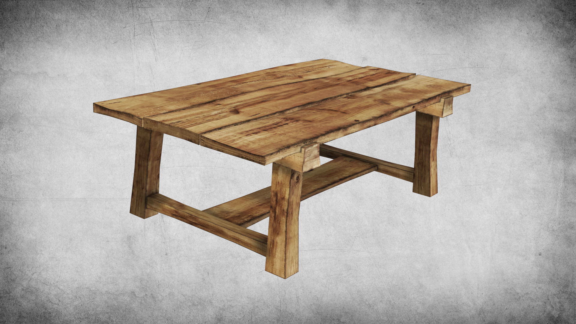 Rustic Wood Table 01 3d Model Low Poly Max Obj 3ds Fbx Dae Dwg 1 ...