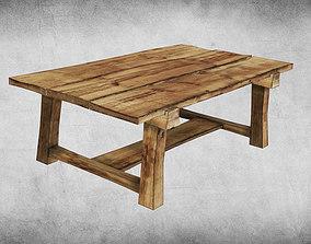 Rustic Wood Table 01 3D asset