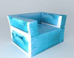 blue chair papagayo houses the world 3d model