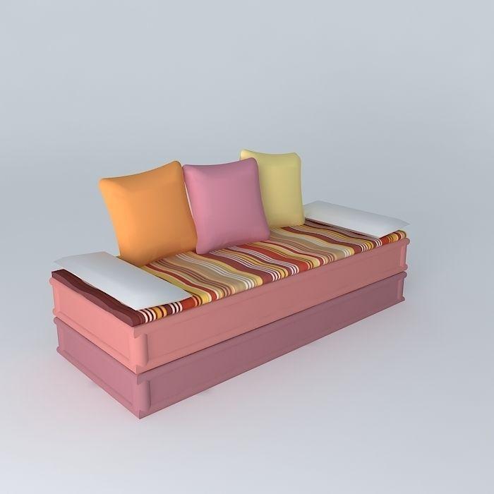 2-3 PROVENCE banquette seats Maisons du monde 3D model MAX OBJ 3DS ...