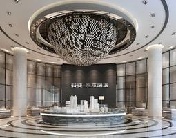 3D Very luxurious hotel lobby photoreal