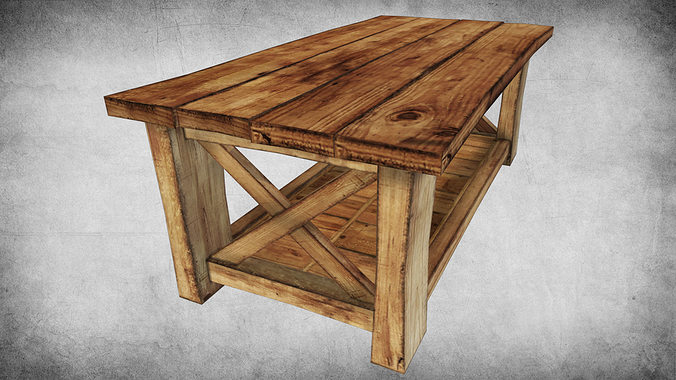 Incroyable Rustic Wood Table 02 3d Model Low Poly Max Obj Mtl 3ds Fbx Dae W3d ...