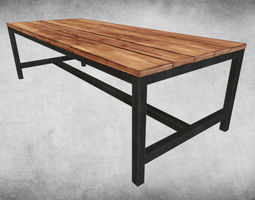 Rustic Wood Table 03 3D Model