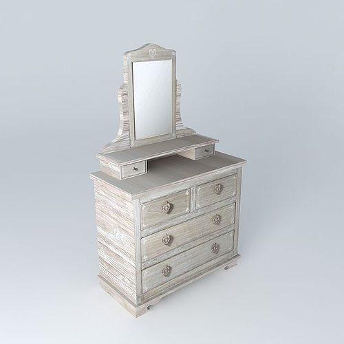 camille dressing table maisons du monde 3d model. Black Bedroom Furniture Sets. Home Design Ideas