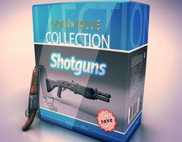 3D model Low poly shotguns collection
