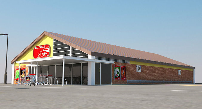 Super Market Building With Parking Space 3d Model Rigged