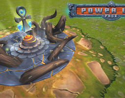 3d asset power-ups pack low poly low-poly