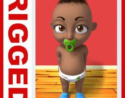 Black baby Cartoon Rigged  3D Model
