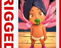 Indian baby Cartoon Rigged 3D model