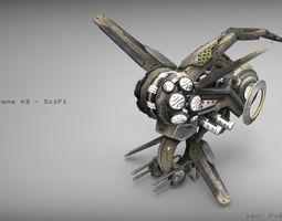 realtime 3d asset drone v3 - scifi