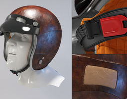 retro motorcycle helmet  3d model