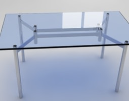 3d model metal and glass table