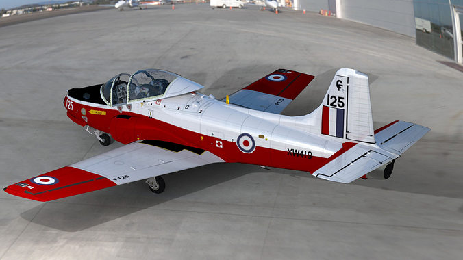 raf jet provost t5 two seat trainer aircraft 3d model low-poly max obj mtl 1