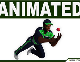 Hi-Poly Cricket Player Catcher 3D Model