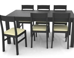 3D Dark Colored Table and Chairs
