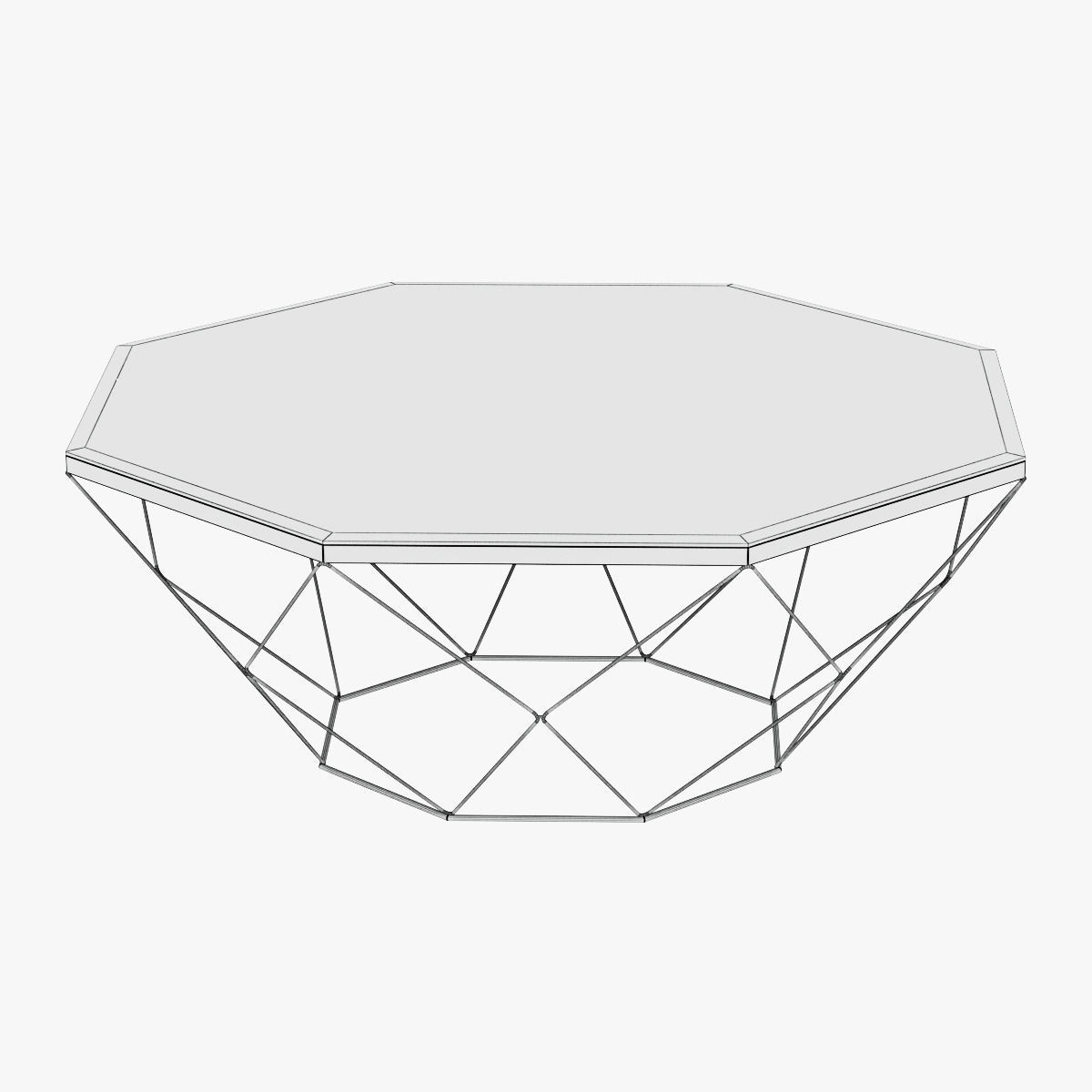 Geometric Antique Brass Coffee Table With Glass Top 3d Model Max Obj 3ds Fbx Mtl 4