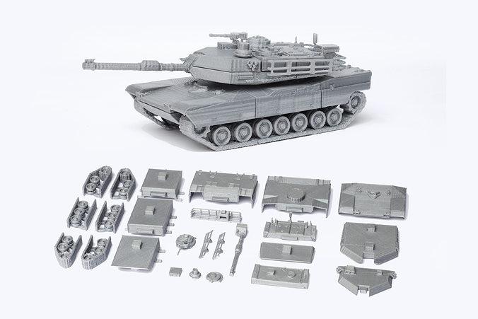 m1 abrams tank detailed model kit 3d model stl 1
