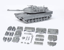m1 abrams tank detailed model kit 3d model stl