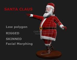 rigged 3d asset santa claus comic game-ready