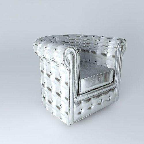 chesterfield silver armchair maisons du monde 3d model max obj 3ds fbx stl dae. Black Bedroom Furniture Sets. Home Design Ideas
