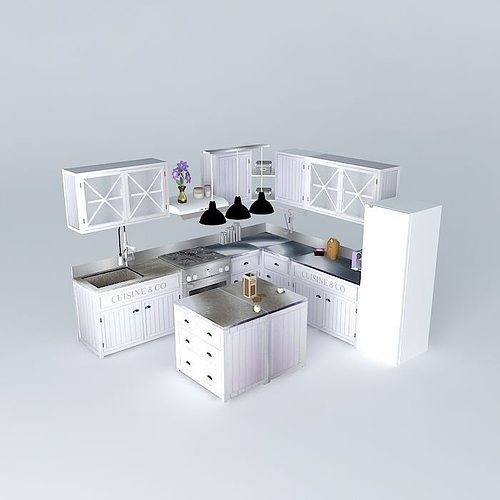 Newport The L Shaped Kitchen Island World Houses 3D Model