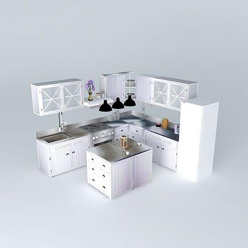 Newport The L Shaped Kitchen Island World Houses D Model Max Obj Ds Fbx Stl Dae