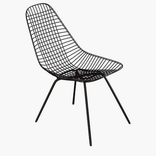 Classic Eames Dkx Wire Side Chair 3d Model Max Obj 3ds Fbx Mtl ...