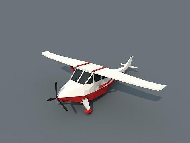 low poly plane 3d model low-poly obj mtl fbx c4d 1