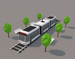 3d model VR / AR ready low poly city tram