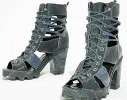 realtime black sandal heels 3d asset