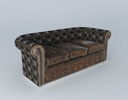 3p brown leather sofa vintage houses the world 3d model