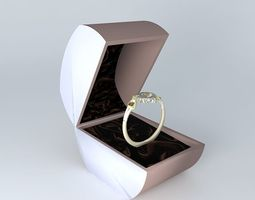 3d model ladies gold platinum  heart style  engagement ring