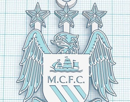 manchester city fc pendant for car or keychain 3d printable model