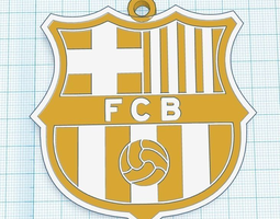 Barcelona FC Pendant for car or keychain 3D Model