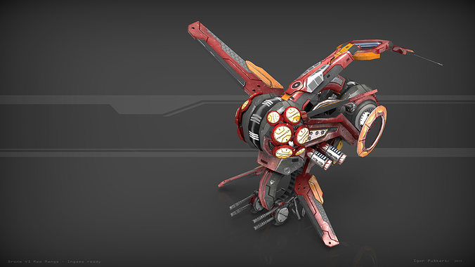 drone v3 red manga  3d model low-poly max obj mtl fbx tga 1