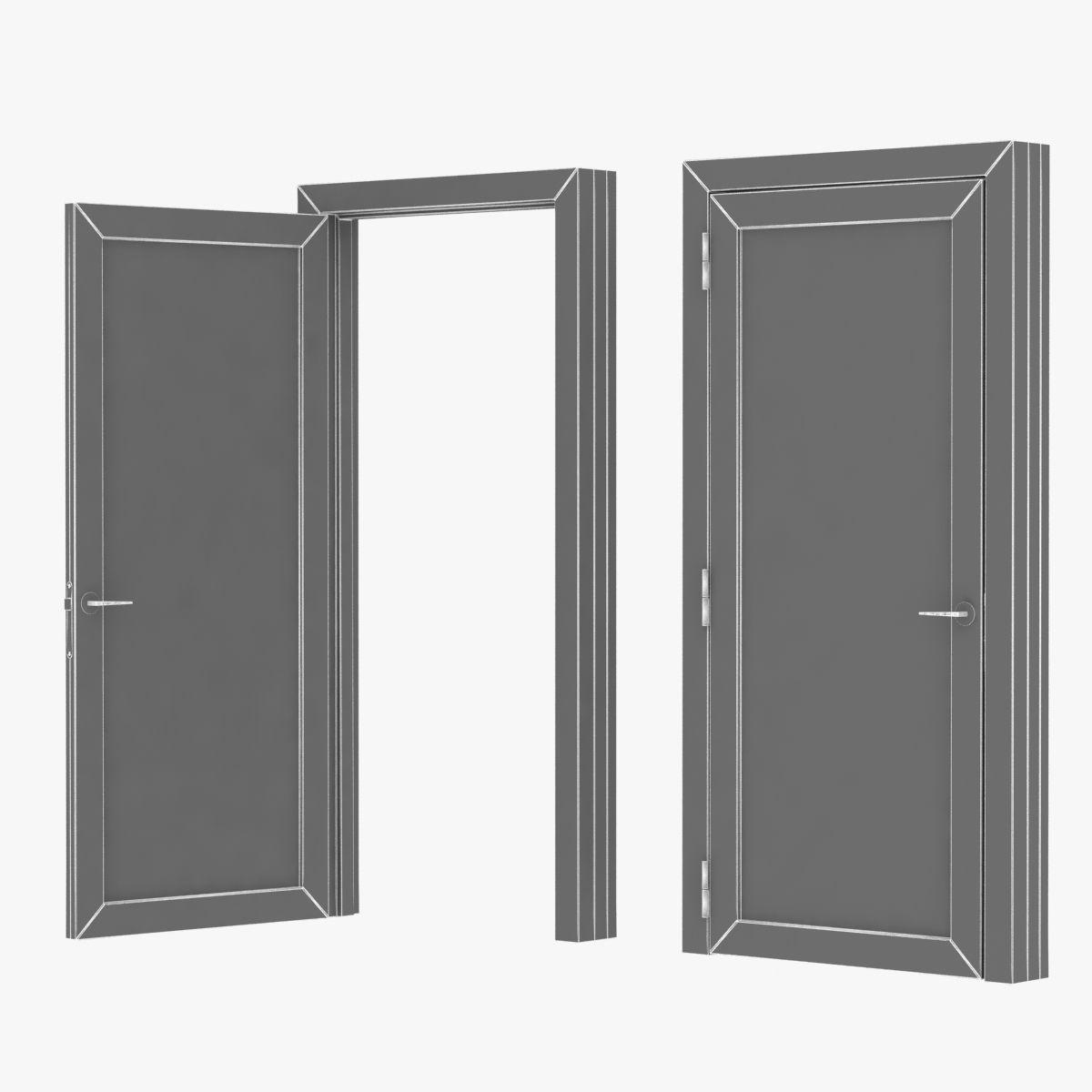 dark wooden modern door open and closed 3D CGTrader
