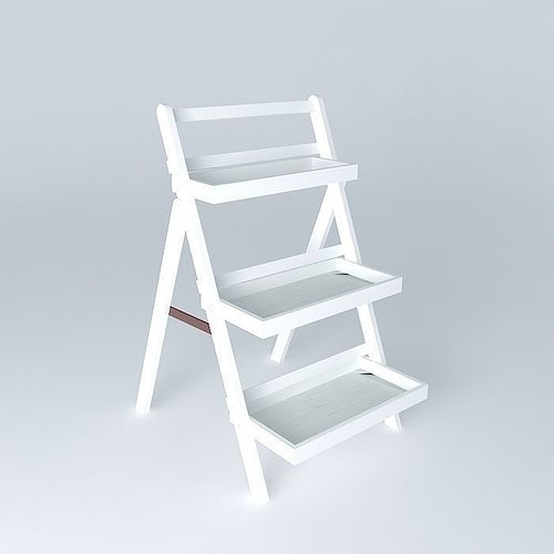 Etagere white etretat 3d model max obj 3ds fbx stl dae - Etagere echelle blanche ...