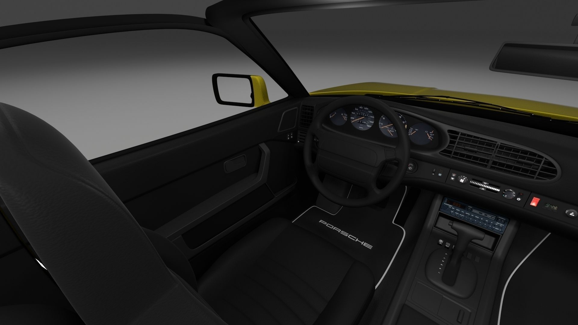porsche 944 cabrio with interior 3d model obj fbx stl blend dae mtl. Black Bedroom Furniture Sets. Home Design Ideas