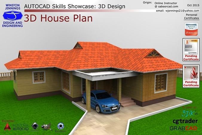 Autocad Skills Showcase   3d House Plan 3d Model Dwg Ige Igs Iges 1 ...