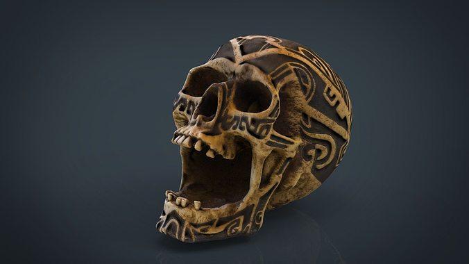 human head skull with ancient tribal tattoo 3d model obj mtl fbx ma mb 1