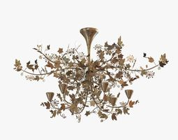 porta romana -ivy shadow chandelier - forest gold 3d model max obj 3ds fbx