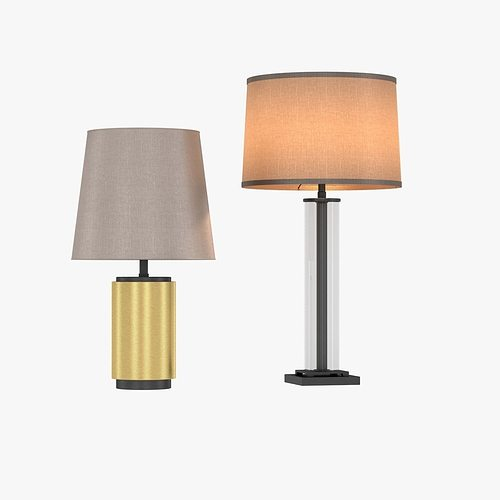 Restoration Hardware French Column Glass Table Lamp 3d Model Max Obj