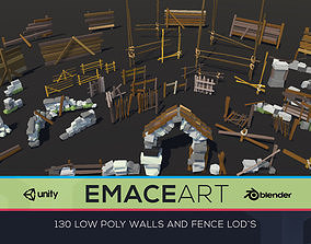 Low Poly Fences and Wall Bundle Pack 1-3 LODS 3D model